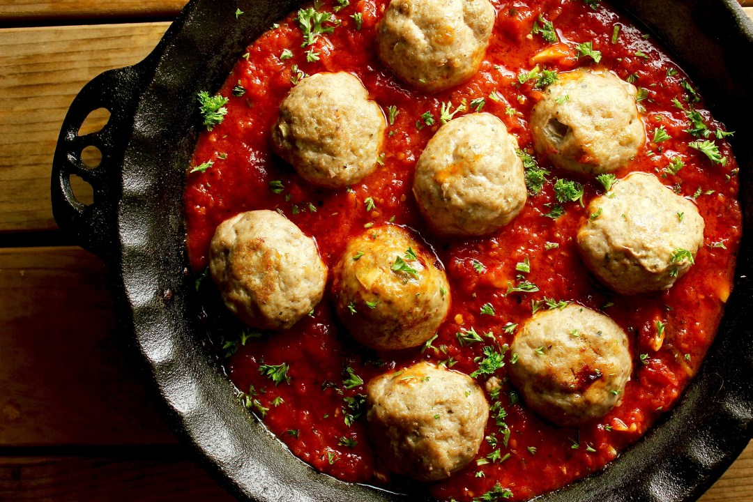 Oven Roasted Meatballs with Spicy Marinara