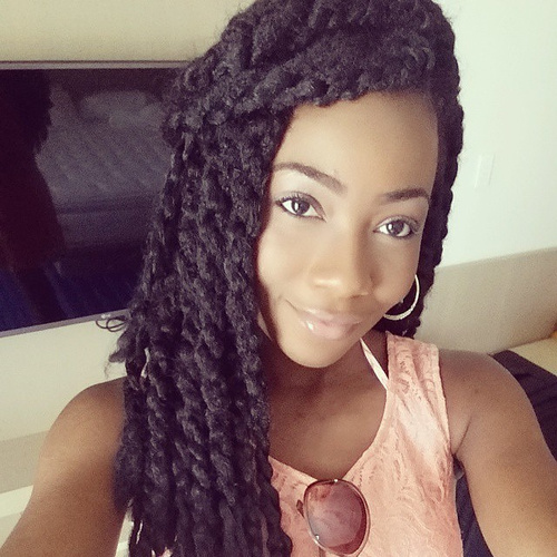 black braided hairstyle with marley twists