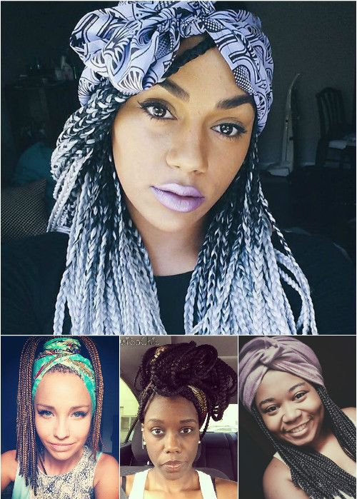 box braids hairstyles with scarves