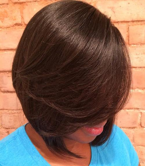 chocolate brown layered bob