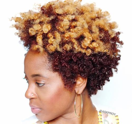 short natural curly hairstyle for black women
