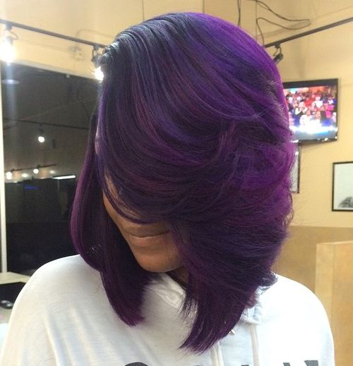 purple balayage for black hair