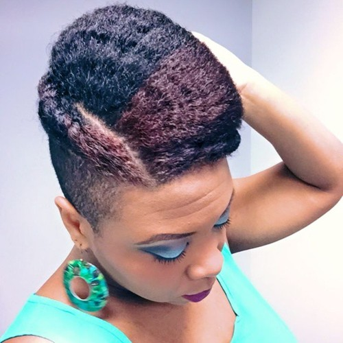 updo for natural hair with a side undercut