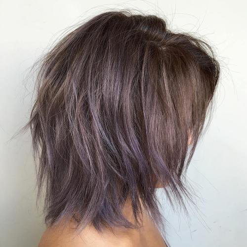 Brown Layered Bob With Purple Balayage