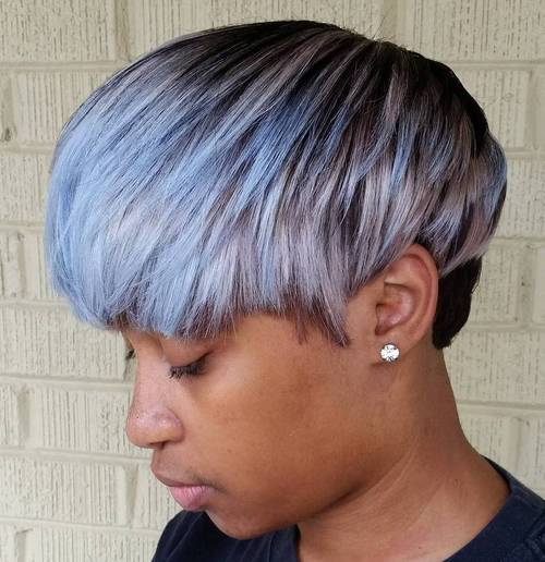 short layered black haircut with silver balayage