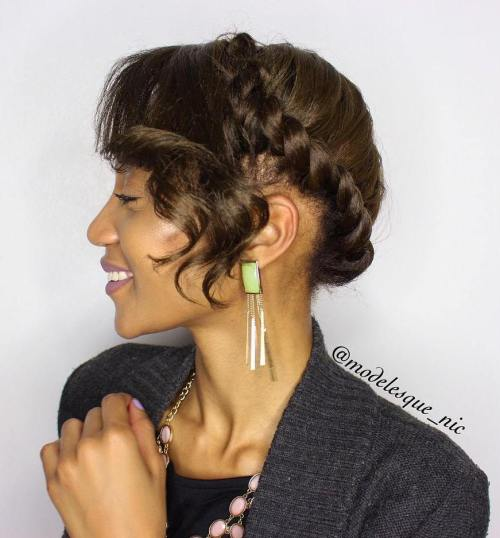 Twist Updo With Bangs