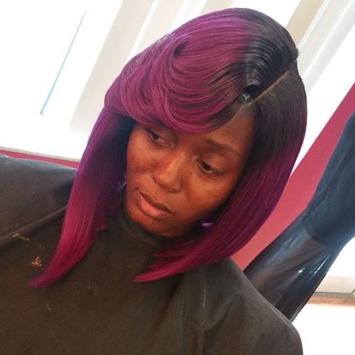 medium asymmetrical hairstyle for black women
