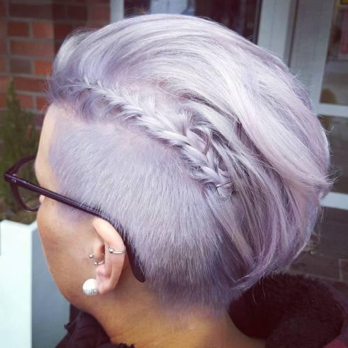 Short Asymmetrical Pastel Purple Hair