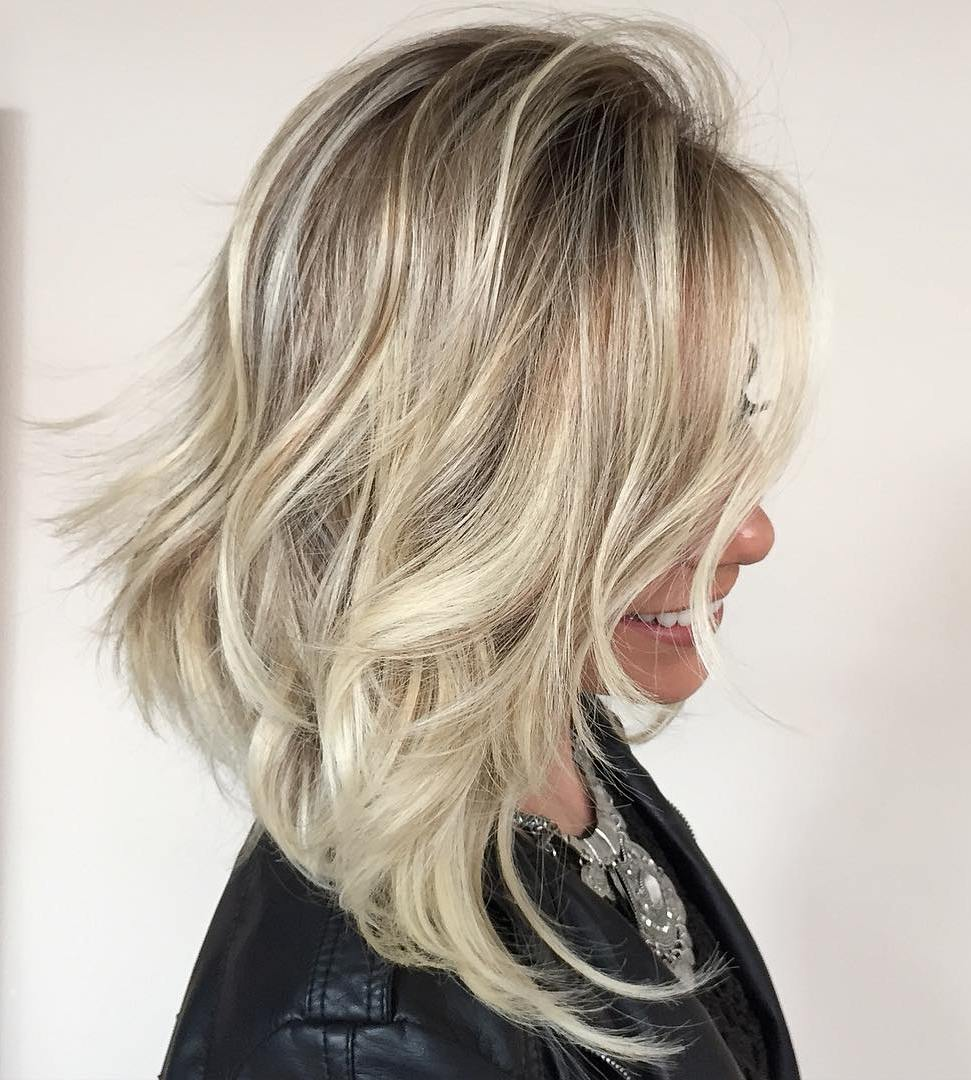 Frisur Blond Ladies Hairstyles 2018 Angled Tousled Blonde Lob Haircut Fashion
