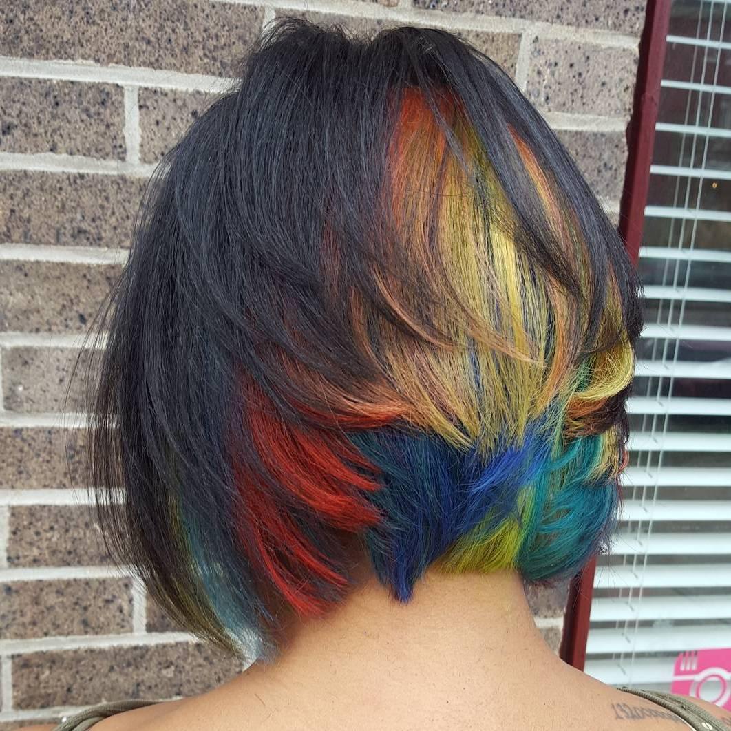 Layered Bob With Rainbow Highlights