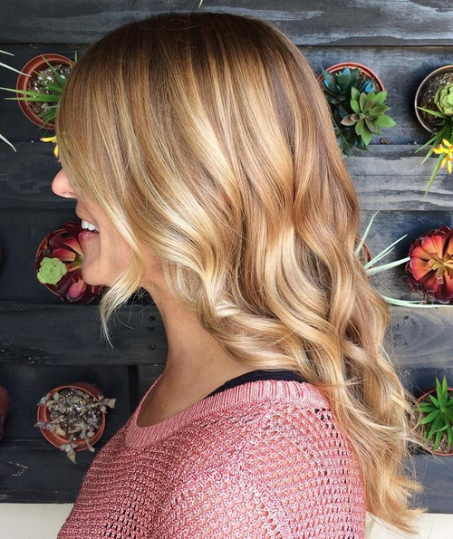 Medium Brown Blonde Wavy Hairstyle