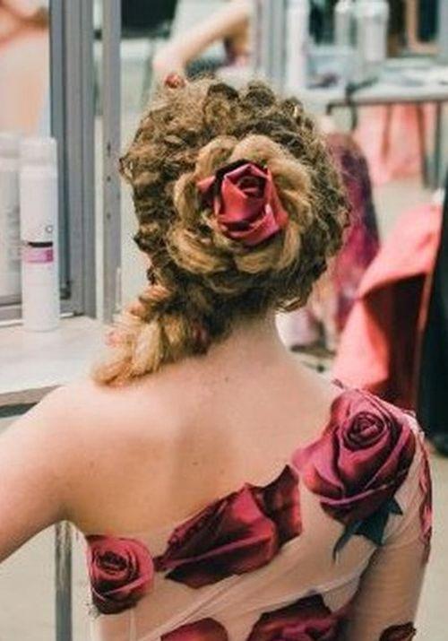 Flower Bun Long Hair Updo