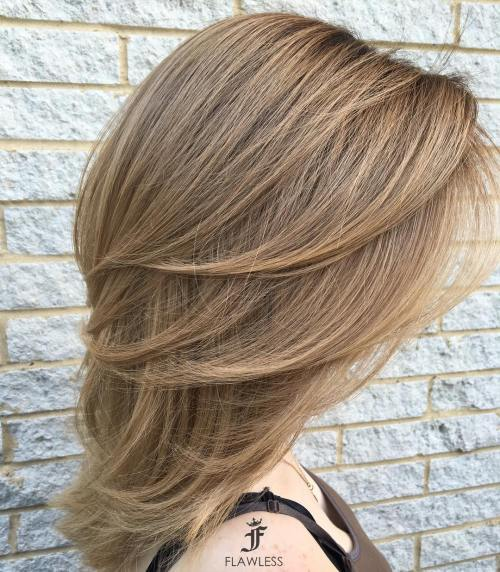 Medium Layered Light Brown Hairstyle