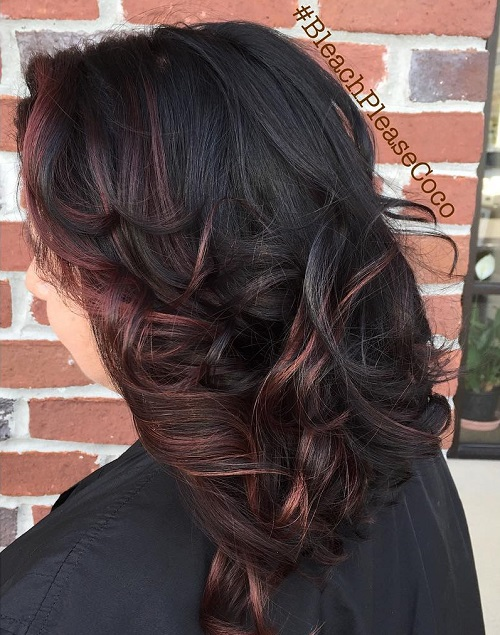Black Hair With Burgundy Face-Framing Highlights