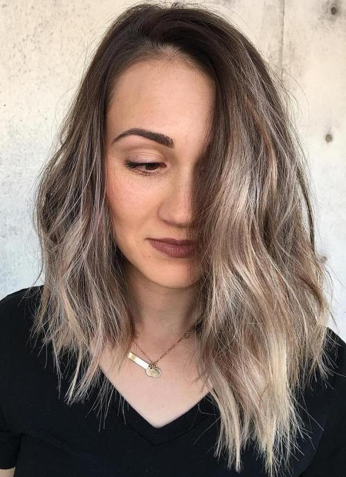 Long Brown Asymmetrical Bob With Highlights