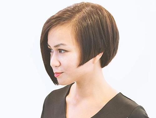 chin-length asymmetrical angled bob