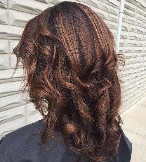 Copper Brown Highlights For Brunettes