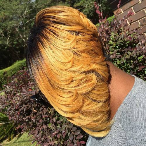 Layered Blonde Bob For Black Women