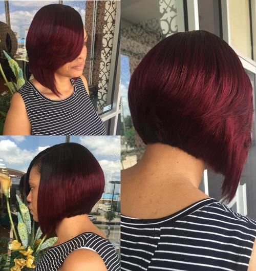 Plum Red Bob With Root Fade