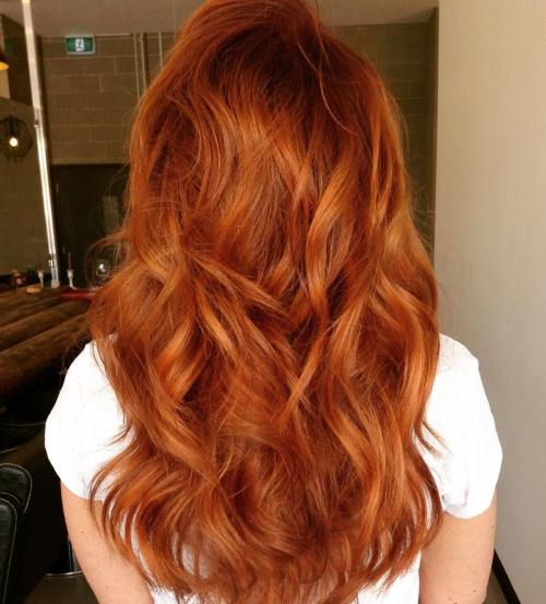 Red Shag Haircut For Long Hair