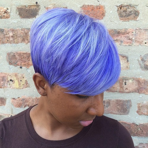 African American short pastel blue hairstyle