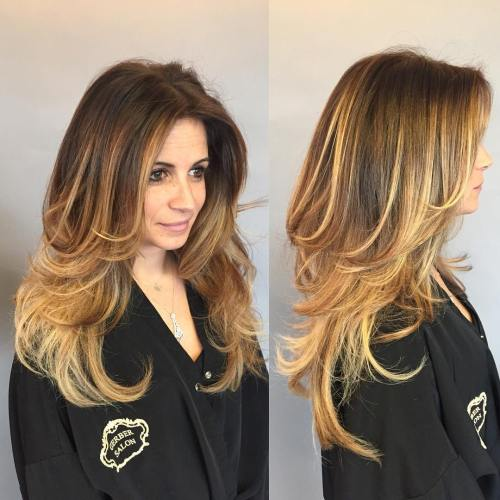 Hairstyles For Long Hair With Layers : Golden Blonde Balayage For Long Layered Hair