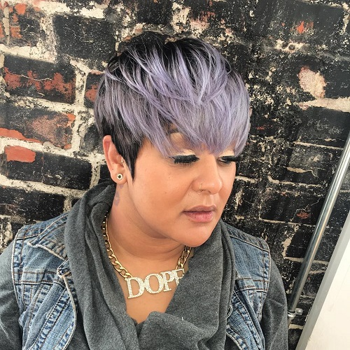 short black hair with silver balayage
