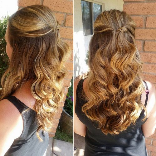 half up curly long hairstyle
