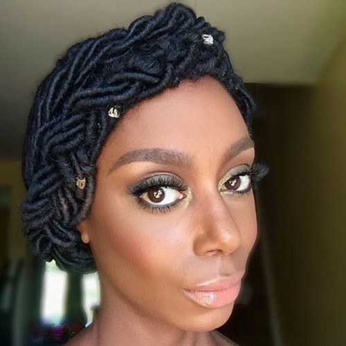 braided updo from dreadlocks for black women
