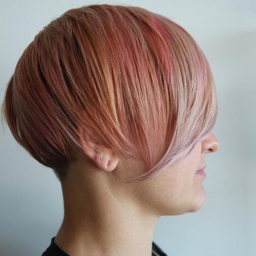 short pastel pink hairstyle