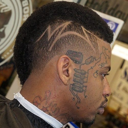 Men's Short Mohawk With Head Tattoo