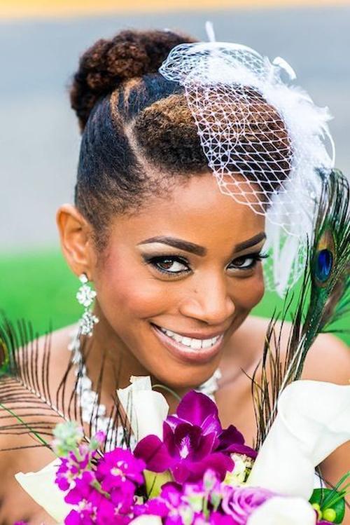 wedding bun updo for natural hair