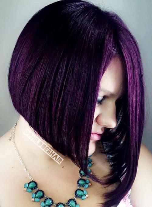 Straight Asymmetrical Purple Bob