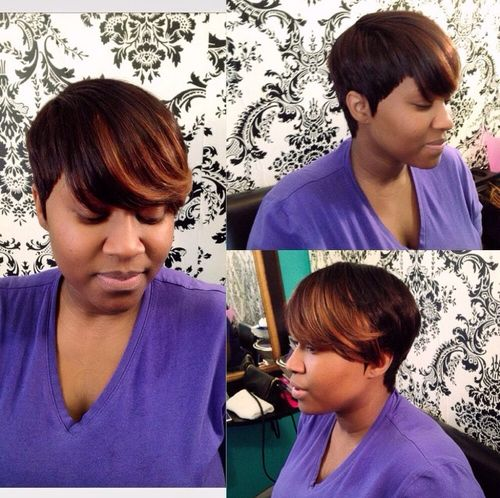 African American short hairstyle with highlighted bangs
