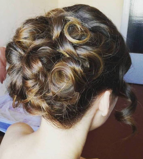curled formal updo for long hair