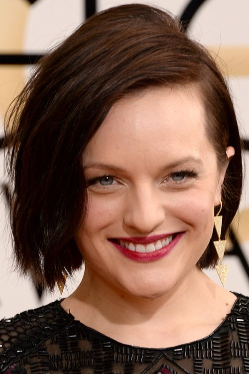 Elisabeth Moss short asymmetric hairstyle for fine hair