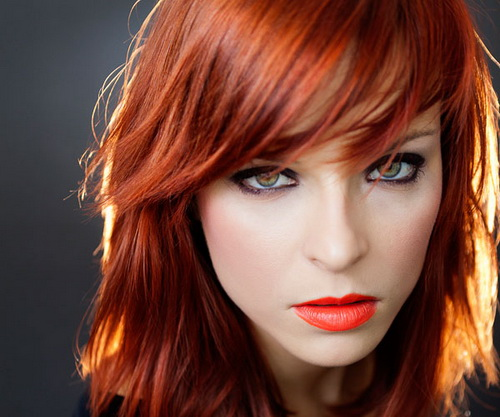 red medium shag hairstyle