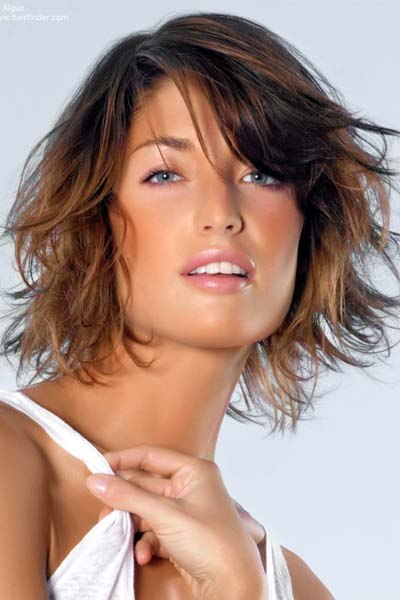 Graded short haircut with ombre colour