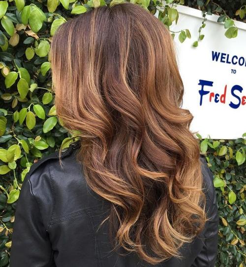Caramel and blonde highlights on dark brown hair