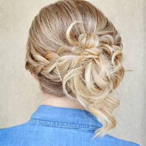 Asymmetrical Braided Updo For Medium Hair