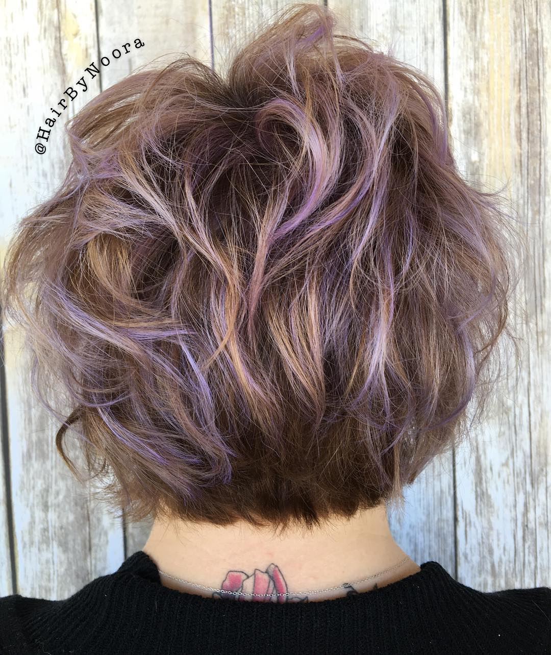 Short Brown Hair With Lavender Highlights