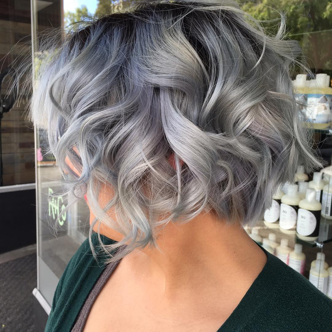 Curly Gray Bob With Black Roots