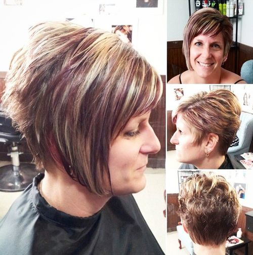 asymmetrical bob hairstyle for mature women
