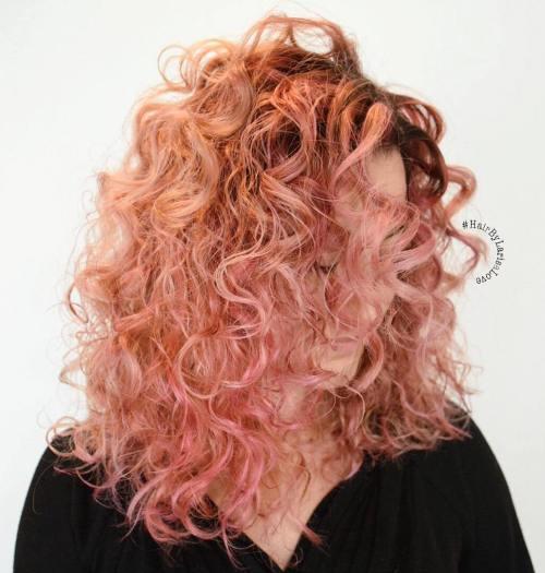Medium Curly Pastel Pink Hairstyle