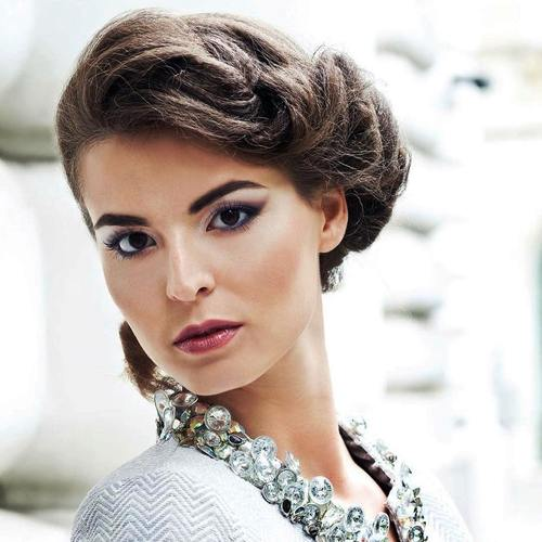 elegant side updo for square faces