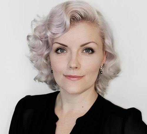 short vintage silver blonde hairstyle
