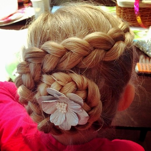 swirl braid updo for little girls