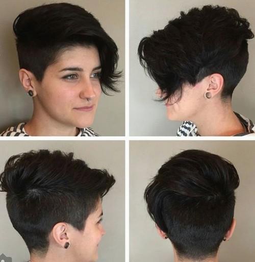 asymmetrical pixie for brunettes
