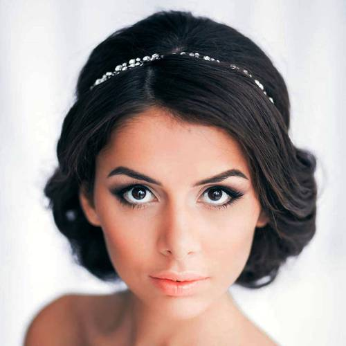 bridal brunette updo for square faces