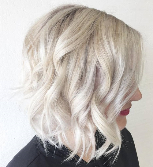 Long Wavy Platinum Blonde Bob